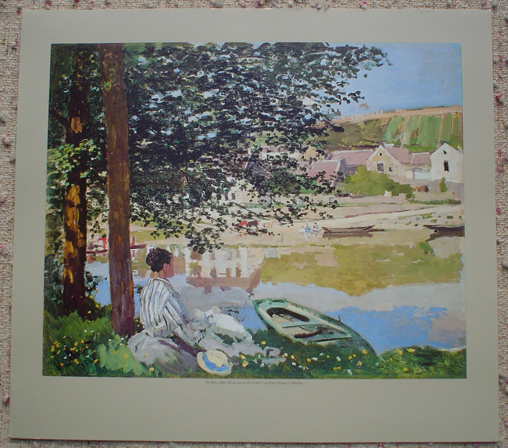 The River, 1868 by Claude Monet, shown with full margins - offset lithograph fine art print