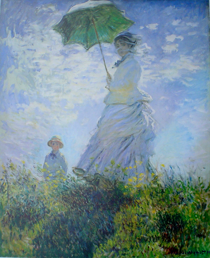 Mrs Monet And Her Son by Claude Monet - offset lithograph fine art print