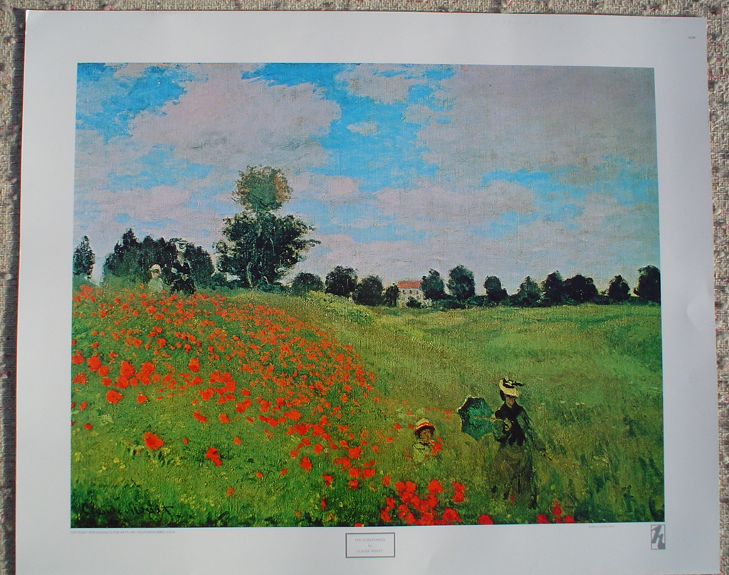 Corn Poppies by Claude Monet, shown with full margins - offset lithograph fine art print