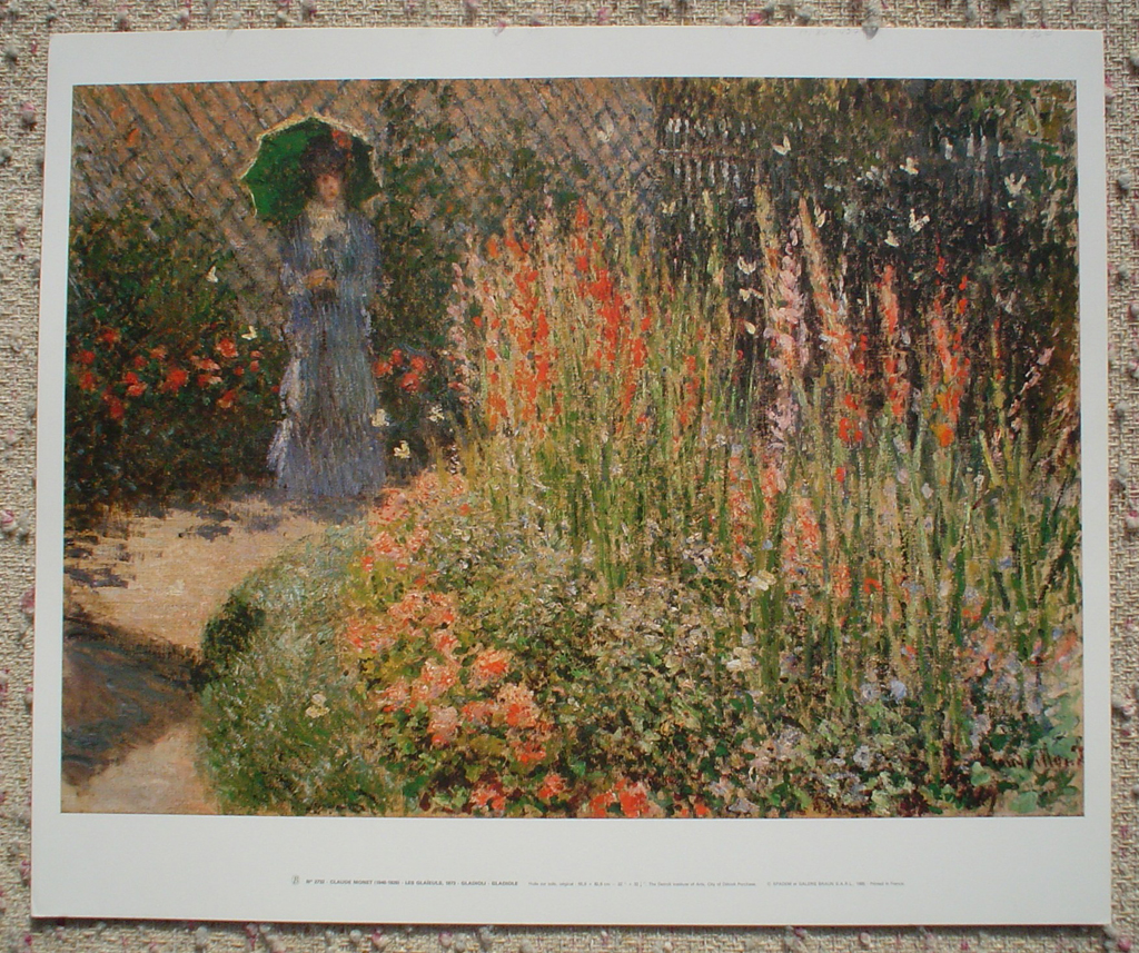 Gladioli,1873 by Claude Monet, shown with full margins - offset lithograph fine art print