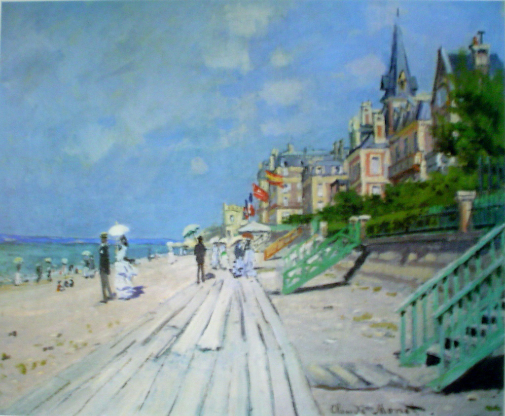 Beach At Trouville by Claude Monet - offset lithograph fine art print