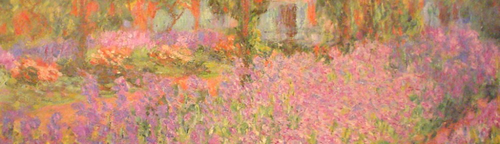 Monet's Garden In Giverny by Claude Monet - offset lithograph fine art print