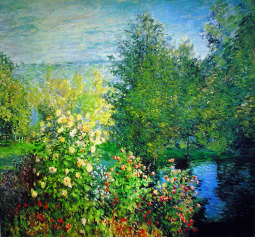Hoschede's Garden In Montgeron by Claude Monet - offset lithograph fine art print