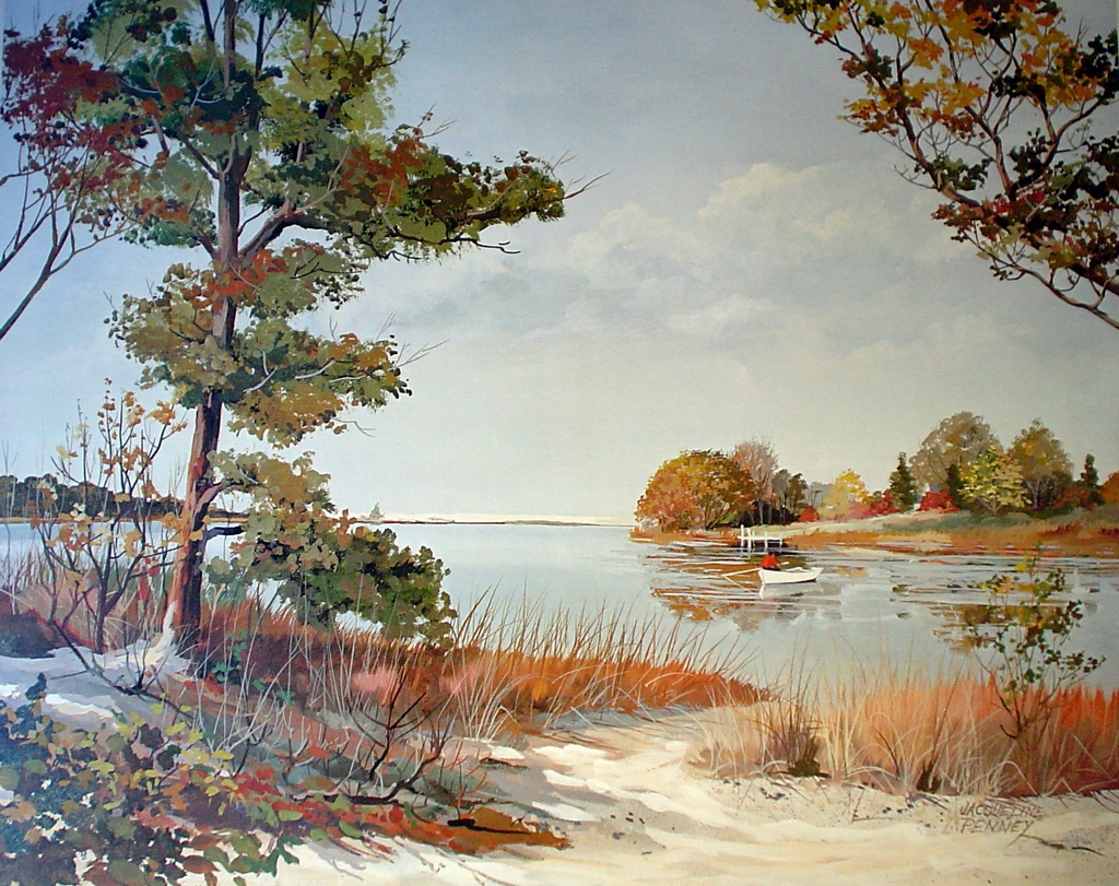 Bay Fishing by Jacqueline Penney - offset lithograph fine art print