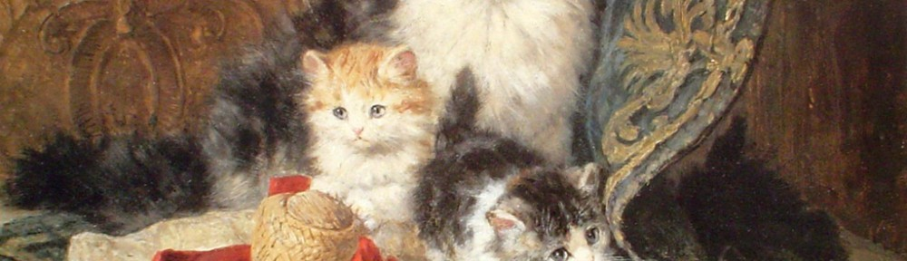 A Cat With Her Three Kittens by Henriette Ronner-Knip - offset lithograph fine art print