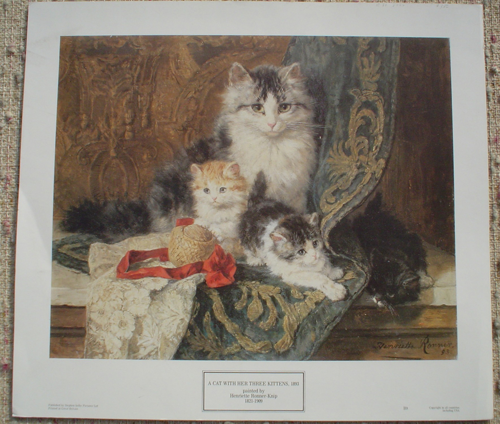A Cat With Her Three Kittens by Henriette Ronner-Knip, shown with full margins - offset lithograph fine art print