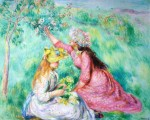 Girls Picking Flowers by Pierre-Auguste Renoir - collectible collotype fine art print