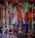 Decorative Landscape, Birches by Tom Thomson, Group of Seven - offset lithograph reproduction vintage fine art print