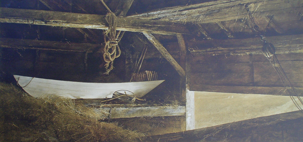 Hay Ledge by Andrew Newell Wyeth, mounted - collectible collotype fine art print