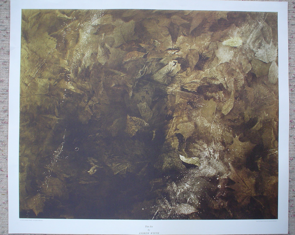 Thin Ice by Andrew Newell Wyeth, shown with full margins - collectible collotype fine art print