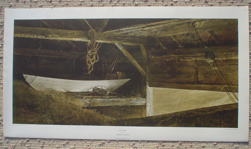 Hay Ledge by Andrew Newell Wyeth, shown with full margins - collectible collotype fine art print