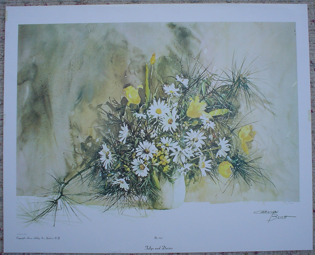 Tulips And Daisies by Carolyn Blish, shown with full margins - offset lithograph fine art print