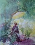 A Woman Sketching In A Glade by Mildred Anne Butler - offset lithograph fine art print
