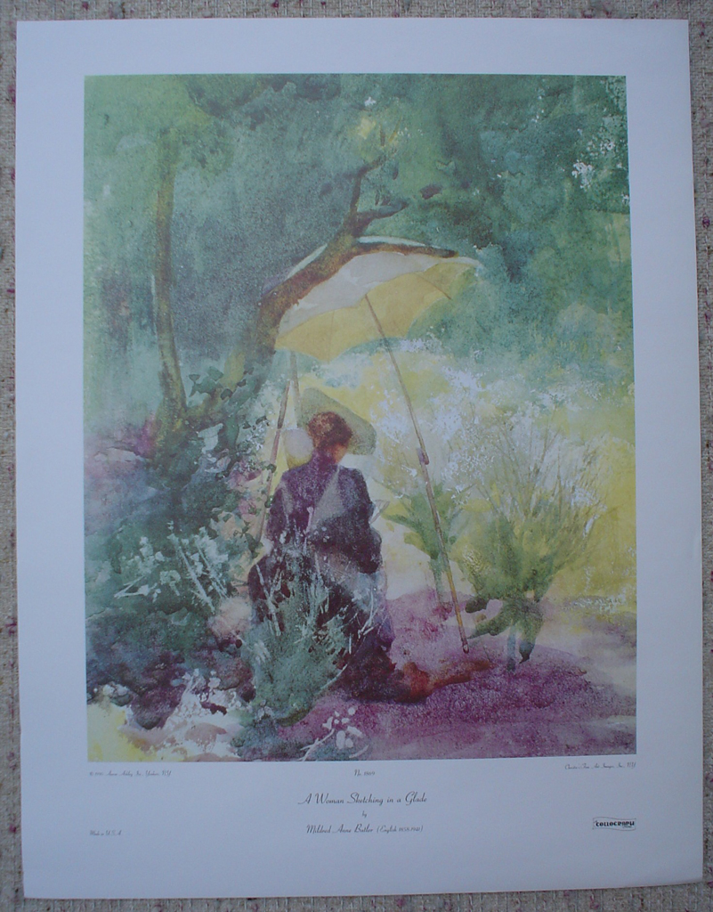 A Woman Sketching In A Glade by Mildred Anne Butler, shown with full margins - offset lithograph fine art print