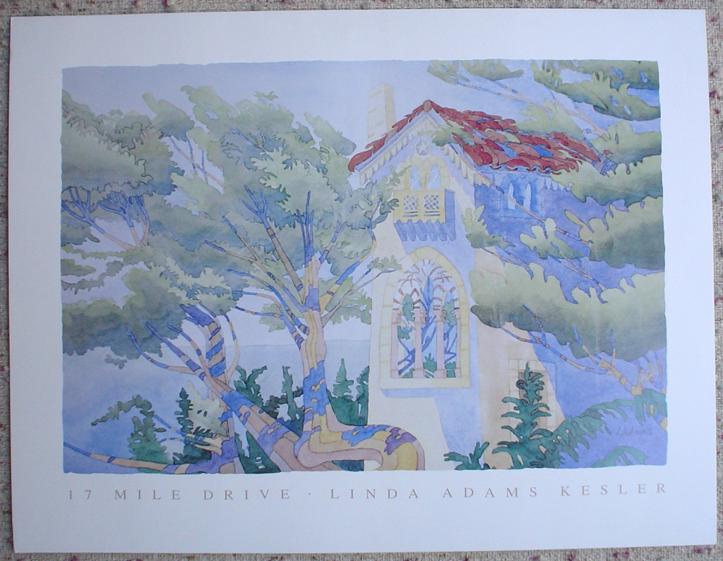 17 Mile Drive by Linda Adams Kesler, shown with full margins - offset lithograph fine art poster print