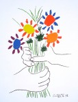 Bouquet With Hands by Pablo Picasso - silkscreen reproduction fine art print
