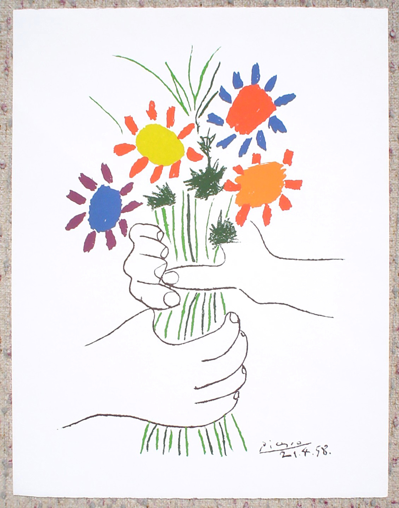 Bouquet With Hands by Pablo Picasso, shown with full margins - silkscreen reproduction fine art print