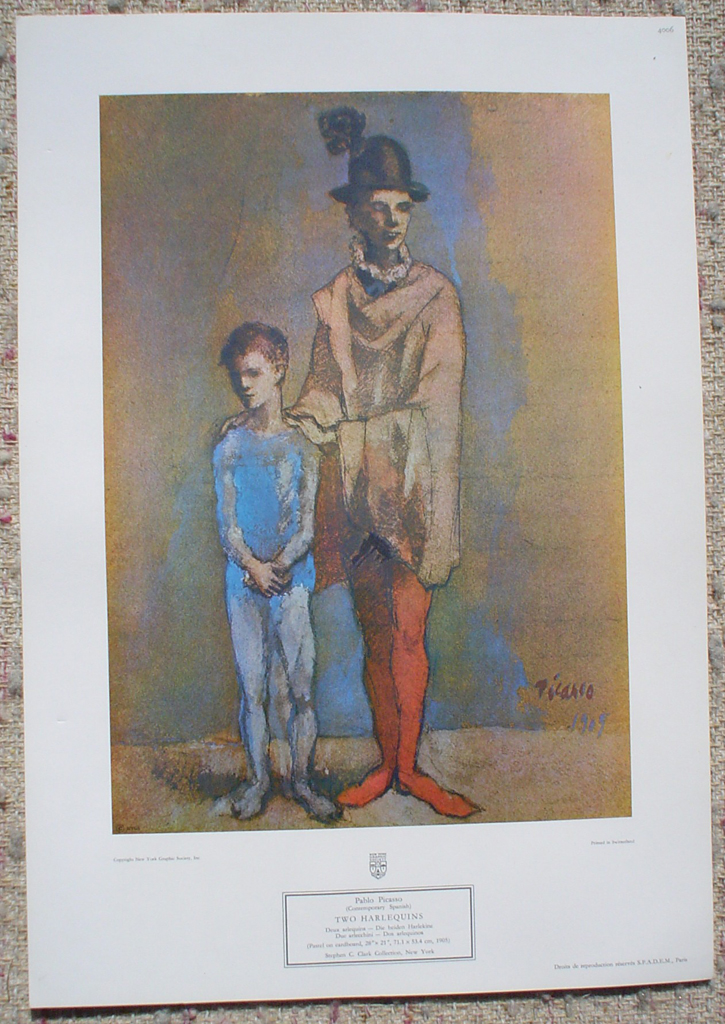 Two Harlequins by Pablo Picasso, shown with full margins - collectible collotype fine art print