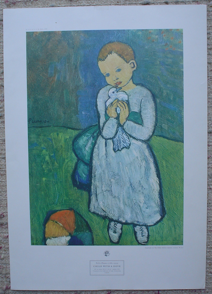 Child With Dove by Pablo Picasso, shown with full margins - collectable collotype fine art print
