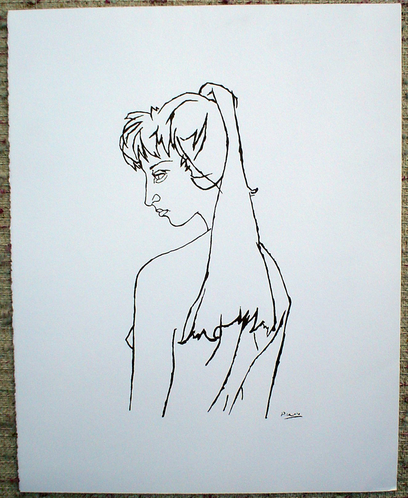 Jacqueline by Pablo Picasso, shown with full margins - silkscreen reproduction fine art print