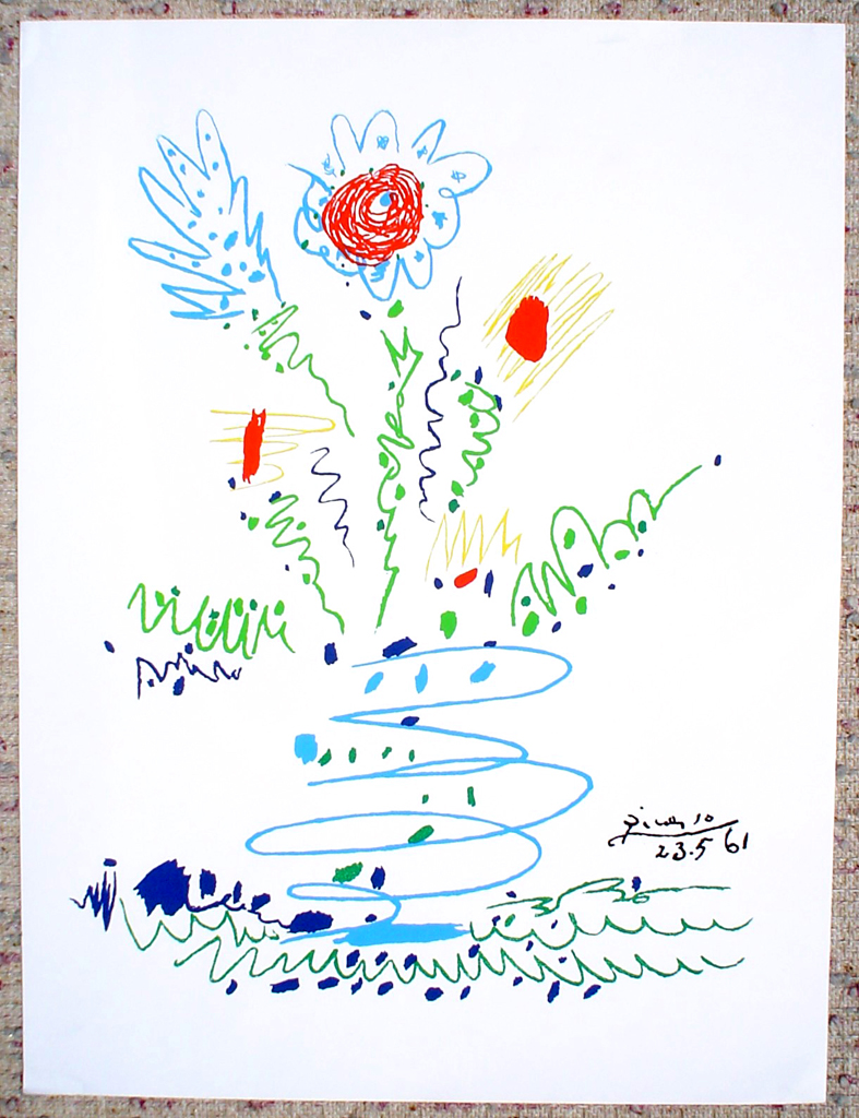 Blue Flower 1961 by Pable Picasso, shown with full margins - silkscreen reproduction fine art print