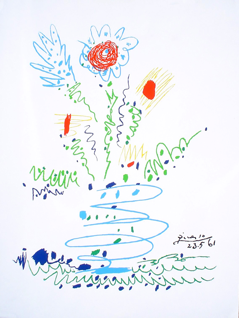 Blue Flower 1961 by Pable Picasso - silkscreen reproduction fine art print