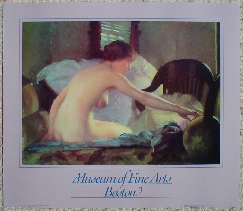 Nude Seated by William McGregor Paxton, Museum of Fine Arts Boston, shown with full margins - offset lithograph fine art poster print