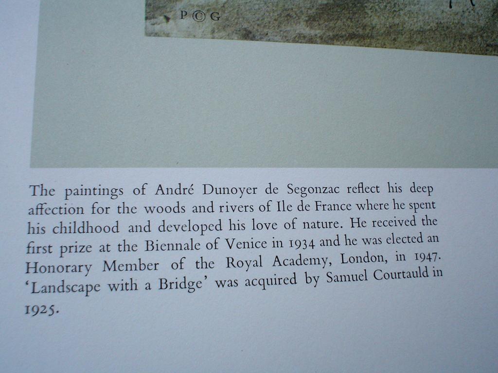 Landscape With A Bridge by Andre Dunoyer De Segonzac, detail Bio - offset lithograph fine art print