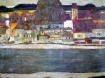 Houses On A River / Häuser Am Fluss by Egon Schiele - offset lithograph fine art poster print