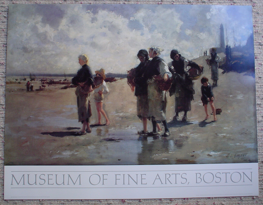 The Oyster Gatherers Of Cancale by John Singer Sargent, Museum of Fine Arts Boston, shown with full margins - offset lithograph fine art poster print