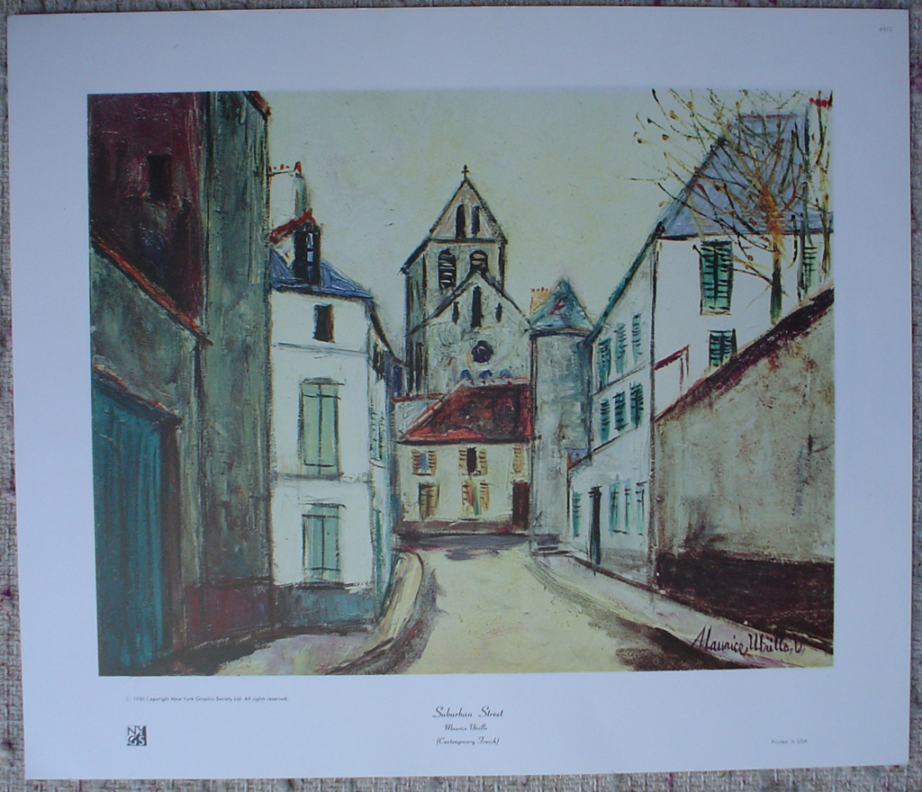Suburban Street by Maurice Utrillo, shown with full margins - collectable collotype fine art print