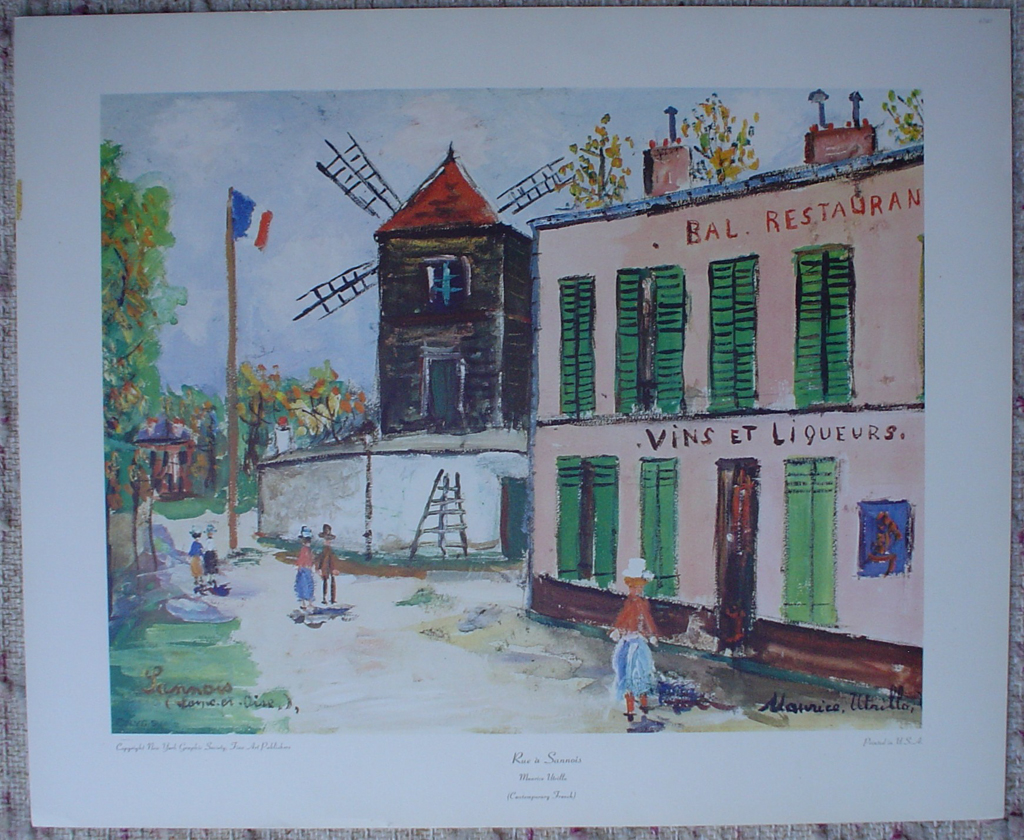 Rue À Sanois by Maurice Utrillo, shown with full margins - collectible collotype fine art print