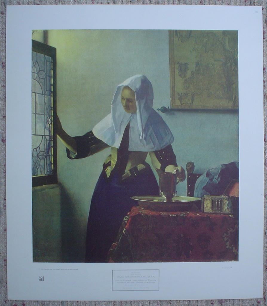 Young Woman With Watering Can by Johannes (Jan) Vermeer, shown with full margins- collectable collotype fine art print