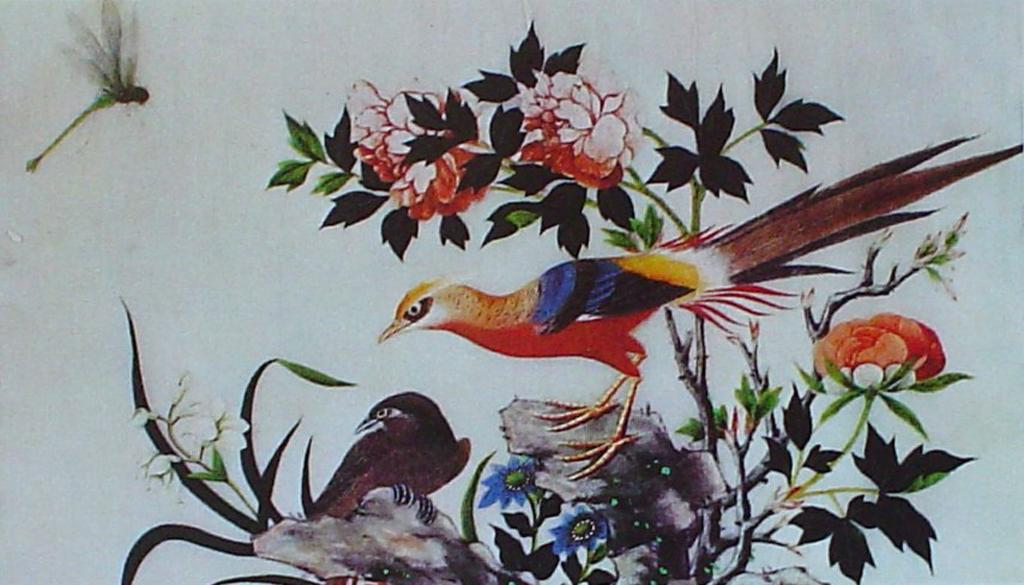 Birds by unknown artist, Arte Chino - silk printed fine art print