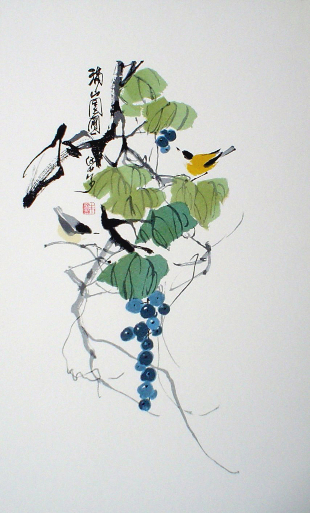 Two Yellow Birds Sitting With Blue Grapes by Charles Chu - offset lithograph fine art print