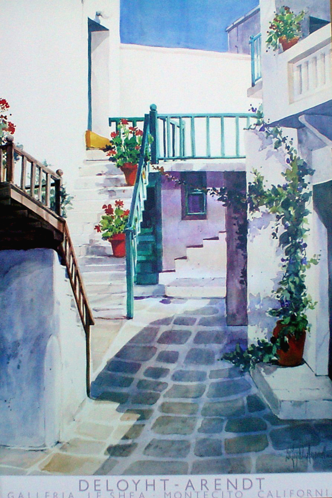 Upstairs by Mary Deloyht-Arendt, Galleria Le Shea, Montecito California - offset lithograph fine art poster print