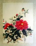 Camellia And A Bird by Cheng Wu Fei - offset lithograph fine art print