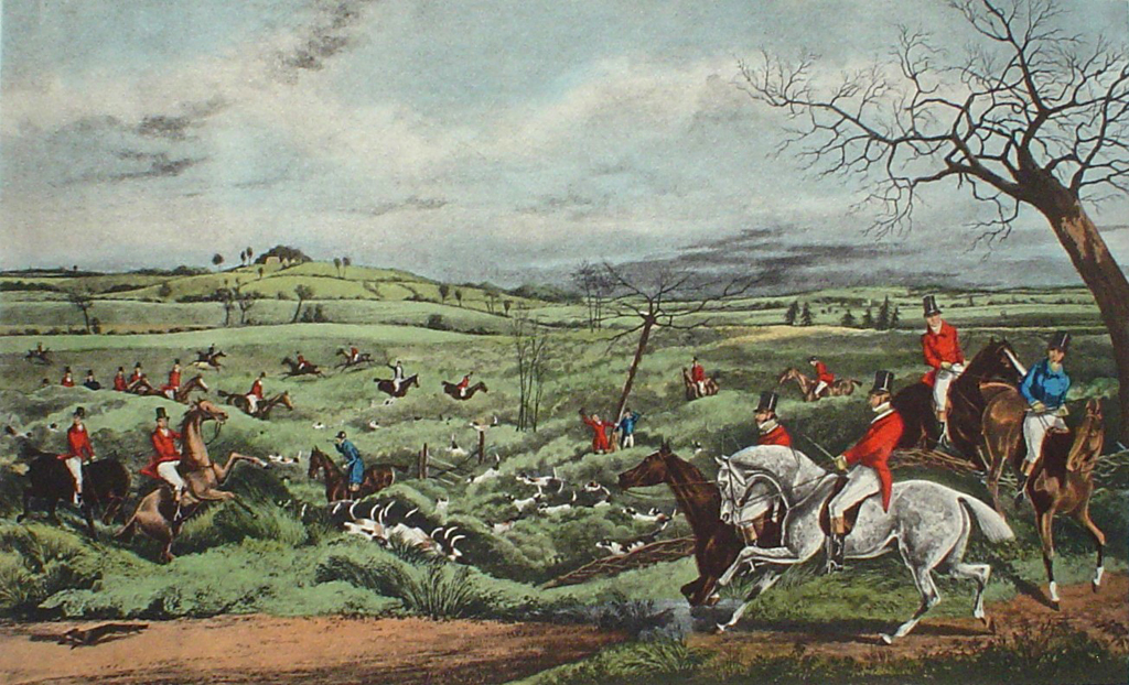 Hunting Scene: Getting Away Tally Ho by Henry Alken - offset lithograph fine art print