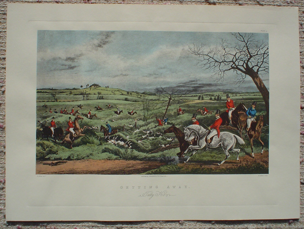Hunting Scene: Getting Away Tally Ho by Henry Alken, shown with full margins - offset lithograph fine art print