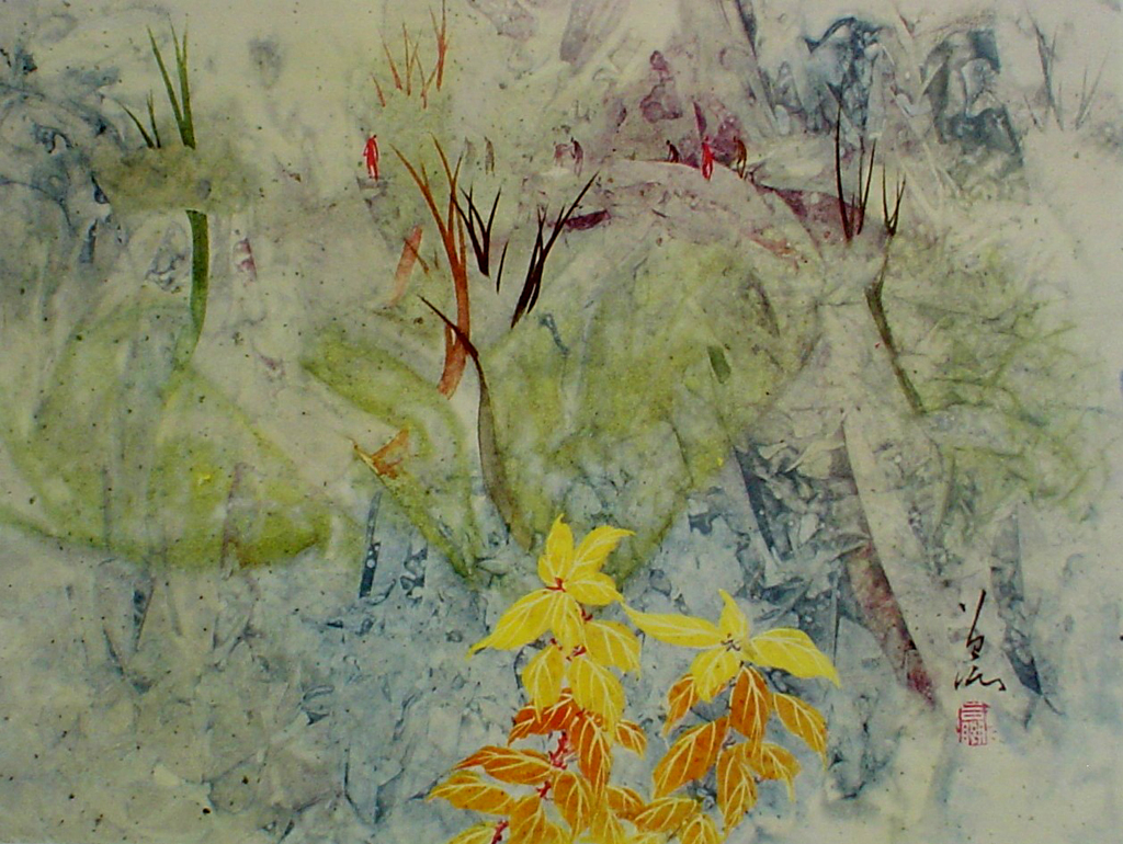 Fragment Of Autumn by Tseng-Ying Pang, shown with full margins - collectible collotype fine art print