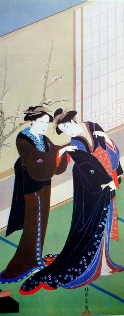 Woman And Maid by Shunshu - offset lithograph fine art print