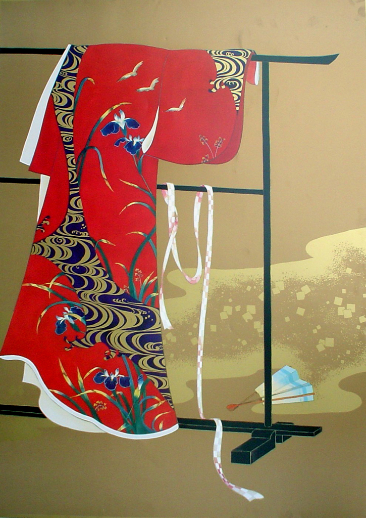 Red Kimono On Gold by unknown Japanese artist - offset lithograph fine art print