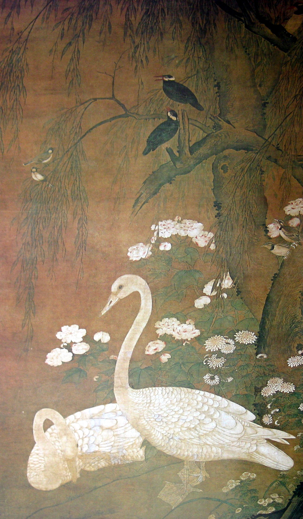 Flowers And Birds In Autumn/ White Swans by unknown Chinese 15th C artist - offset lithograph fine art print