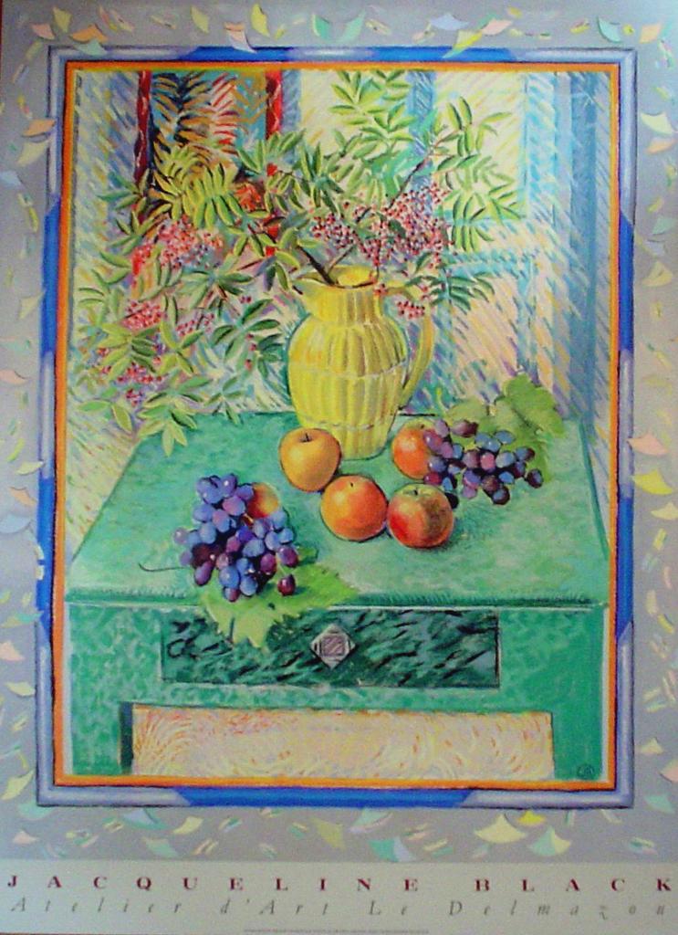 Still Life With Fruit by Jacqueline Black, Atelier d'Art Le Delmazou - offset lithograph fine art poster print