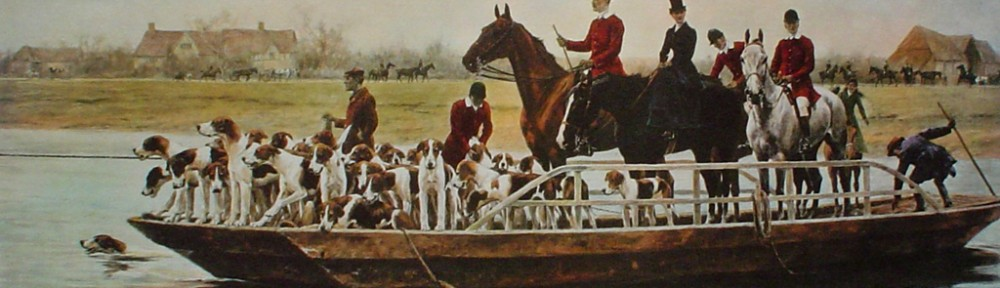 A Day's Hunting, The Ferry by Thomas Blinks - offset lithograph fine art print