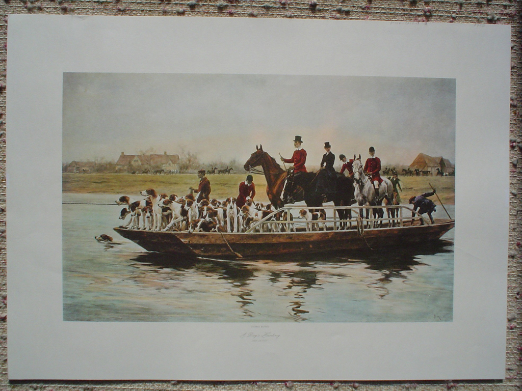 A Day's Hunting, The Ferry by Thomas Blinks, shown with full margins - offset lithograph fine art print