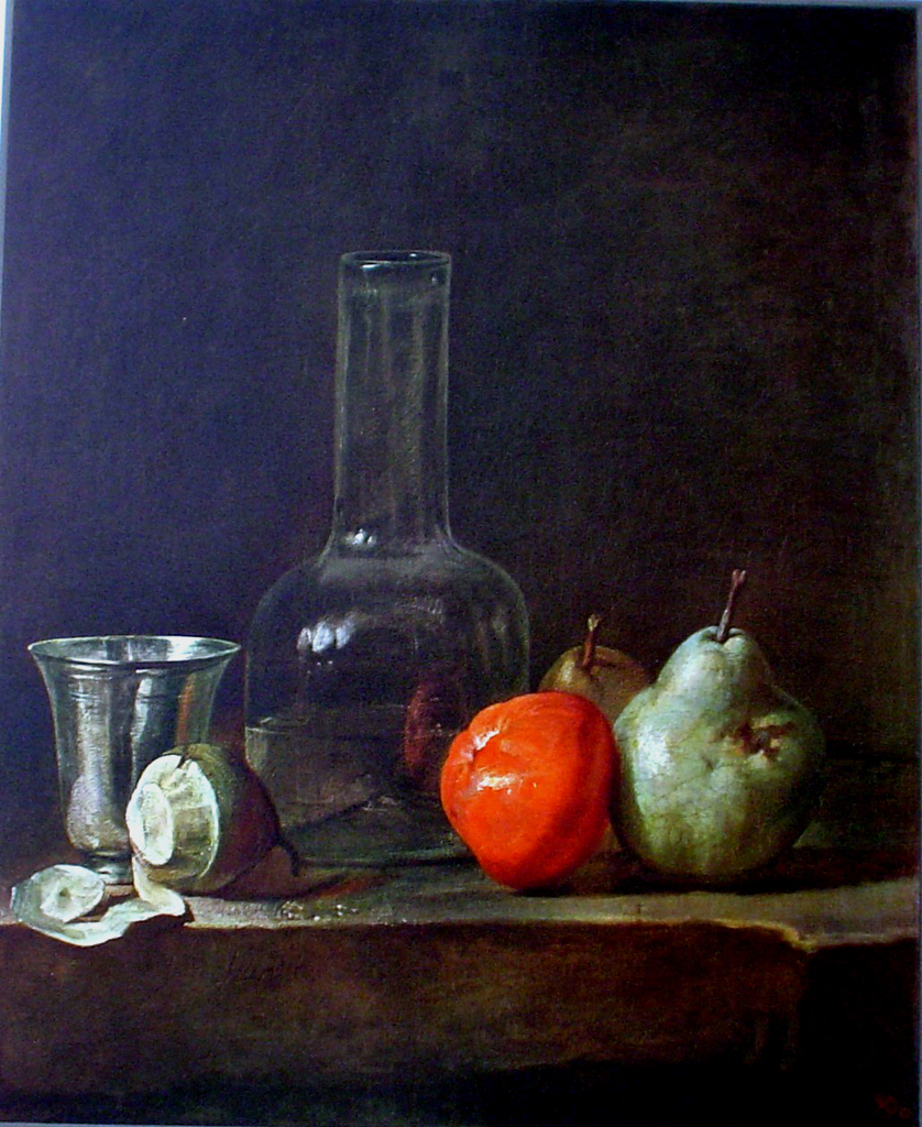 Still Life With Glass Bottle by Jean Baptiste Simeon Chardin - collectable collotype fine art print