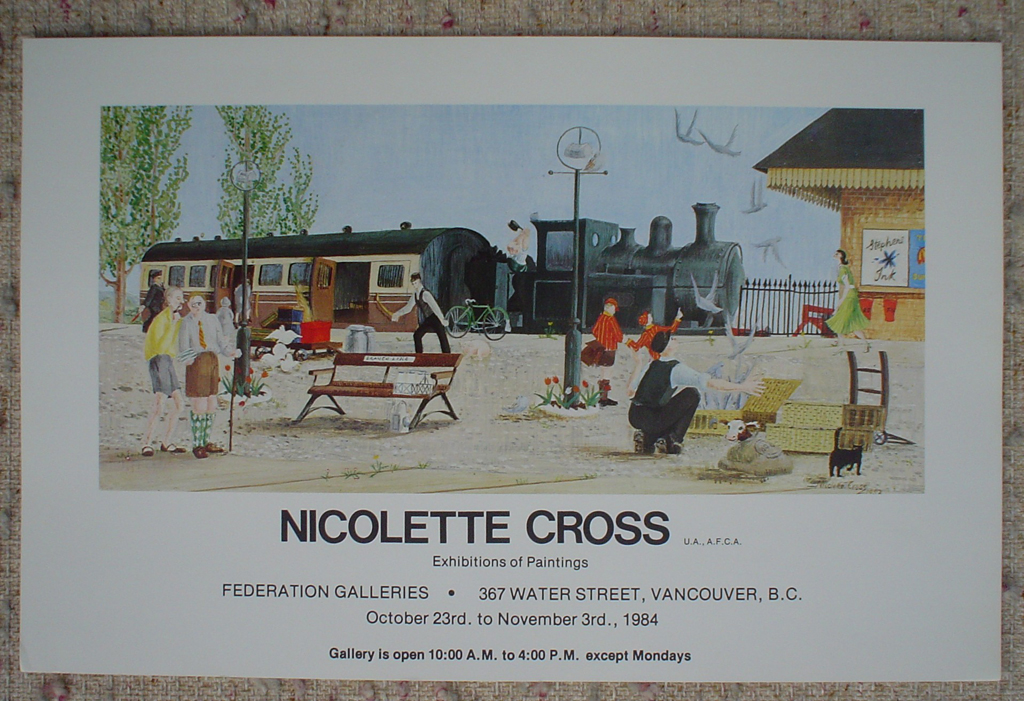 Train Station, by Nicolette Cross, 1984 Exhibition, Federation Galleries, Water Street, Vancouver, shown with full margins - offset lithograph fine art poster print