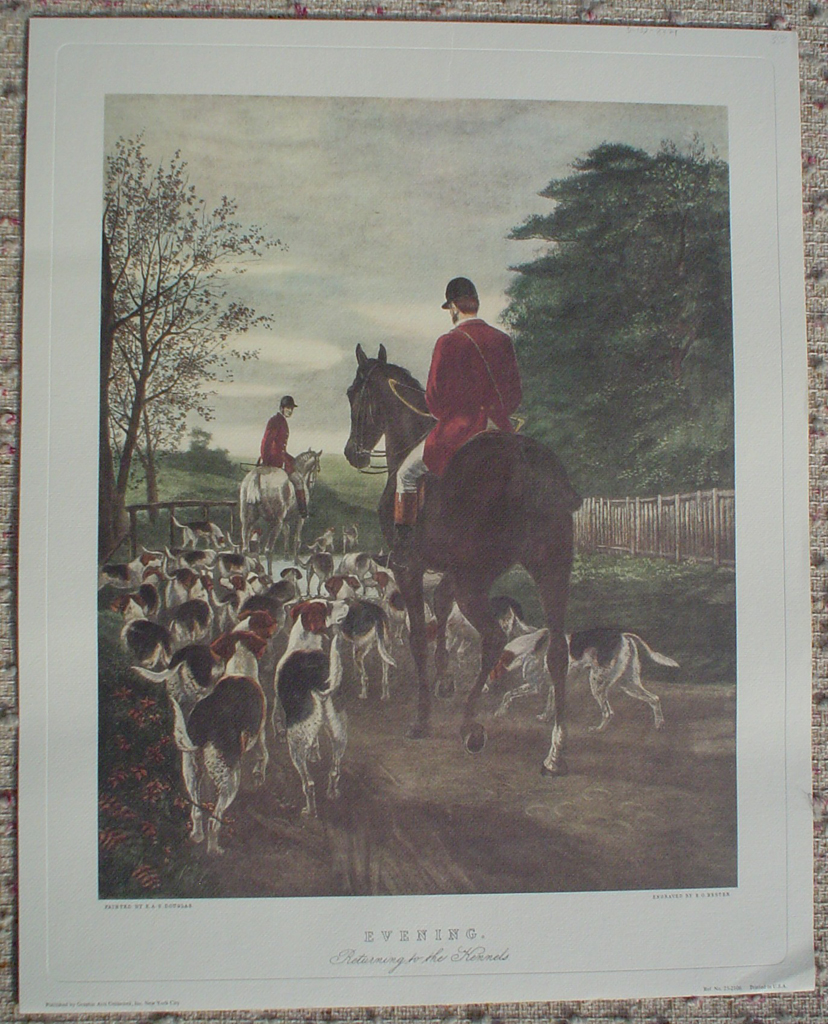 Evening, Returning To The Kennels by Edward A. Douglas, shown with full margins - offset lithograph fine art print