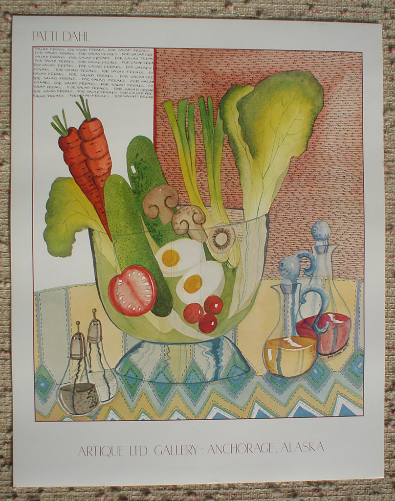 Salad Bowl by Patti Dahl, Artique Gallery, Anchorage Alaska, shown with full margins - offset lithograph fine art poster print